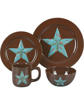 HiEnd Accents 16-Piece Star Dinnerware Set, Brown, hi-res