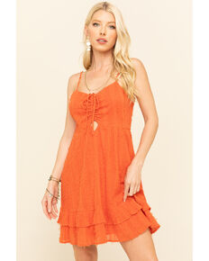Loveriche Women's Orange Tie Front Ruffle Dress, Orange, hi-res