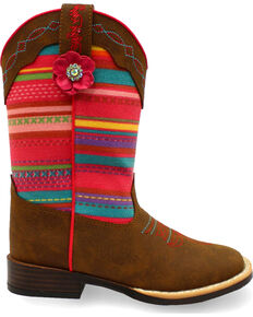 Blazin Roxx Girls' Camilla Serepa Boots - Square Toe , Medium Brown, hi-res