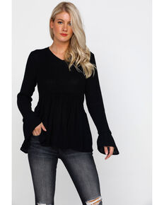 Rag Poets Women's Black Contrast Bell Sleeve Babydoll Hem Sweater , Black, hi-res