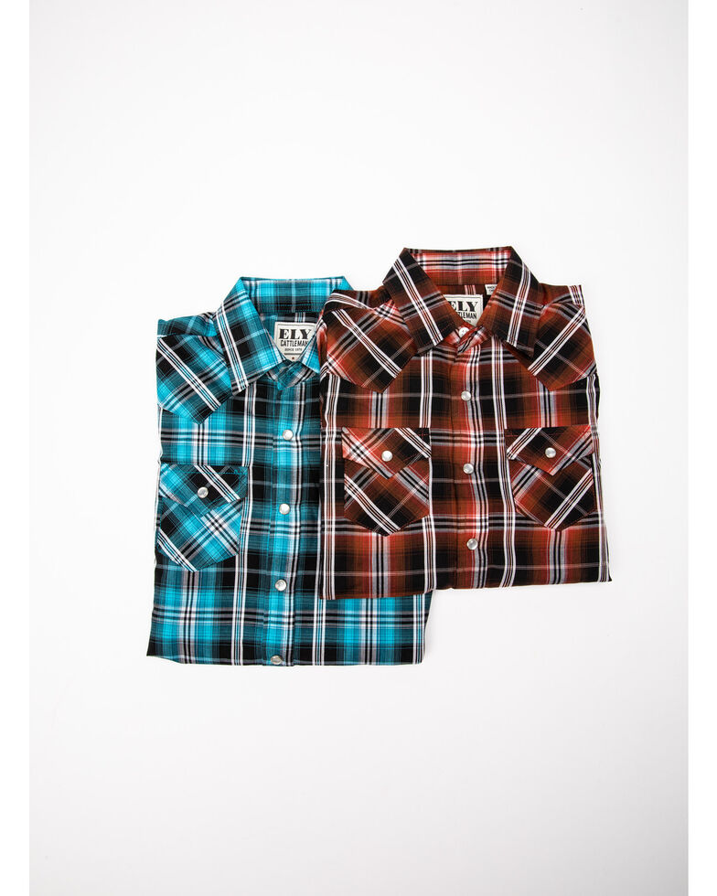 Ely Cattleman Toddler Boys' Assorted Textured Plaid Long Sleeve Western Shirt , Multi, hi-res