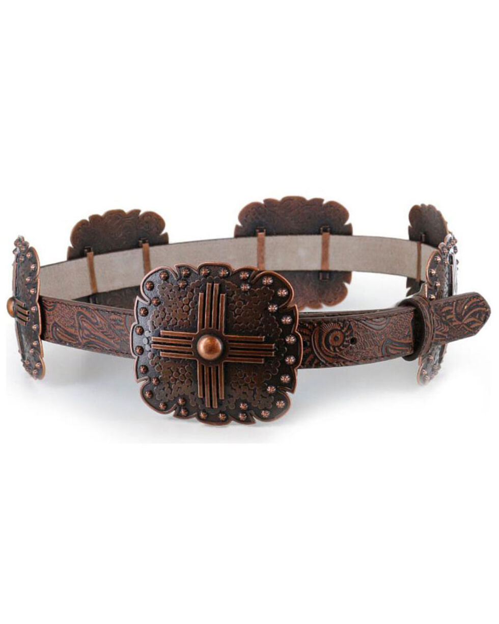 Angel Ranch Women's Concho Leather Belt, Brown, hi-res
