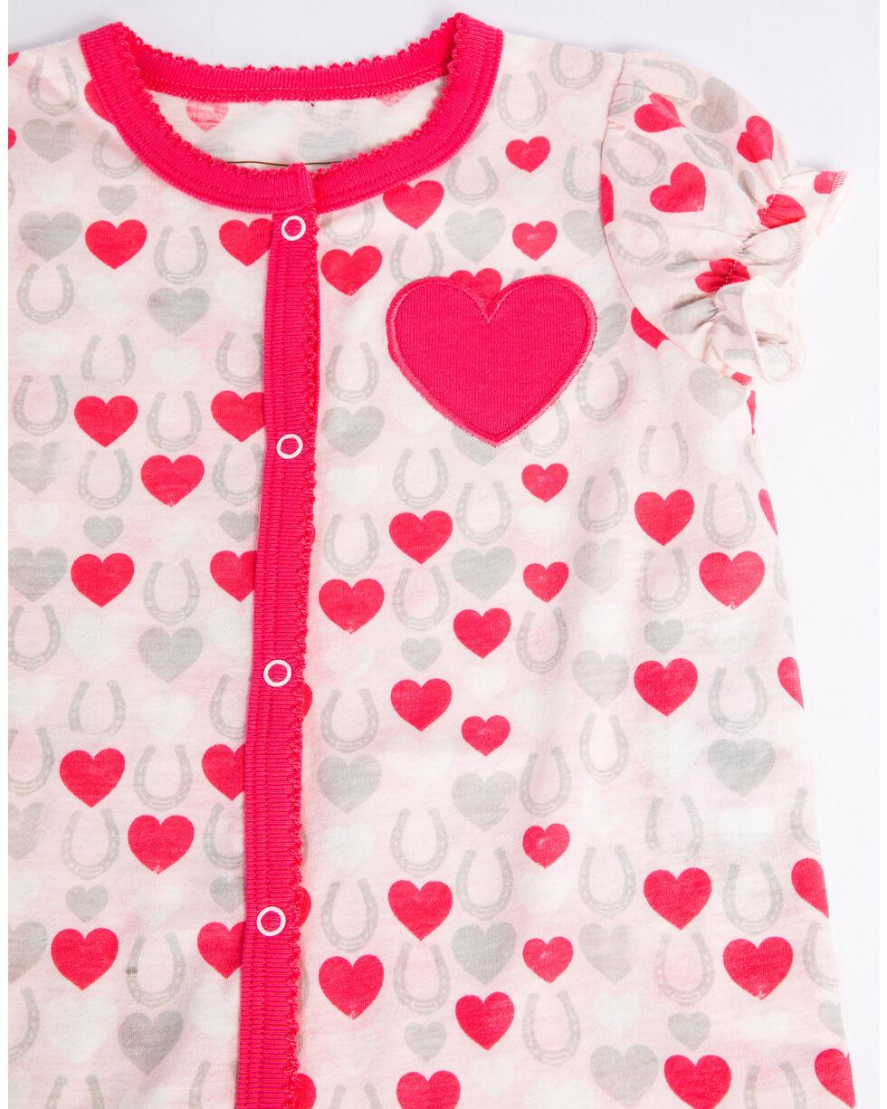 Shyanne Infant Girls' Hearts Romper Ruffle Short Sleeve Onesie , Pink, hi-res