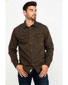 Moonshine Spirit Men's Peace Pipe Oil Skin Embroidered Long Sleeve Western Shirt , Dark Brown, hi-res