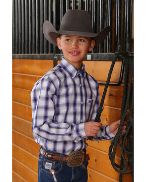 Cinch Boys' Med Plaid Button Long Sleeve Western Shirt , Grey, hi-res