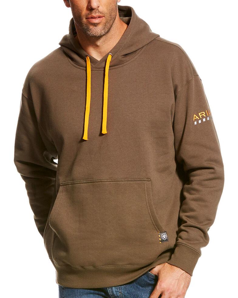 Ariat Men's Morel Rebar Logo Hooded Work Sweatshirt , Brown, hi-res