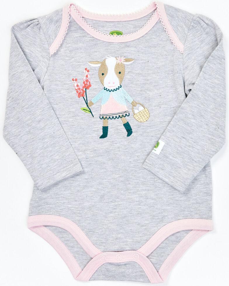 John Deere Infant Girls' Grey & Pink Long Sleeve Cowgirl Glittered Onesie, Grey, hi-res