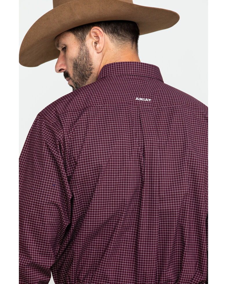 Ariat Men's Fullerton Stretch Med Plaid Long Sleeve Western Shirt - Big , Purple, hi-res