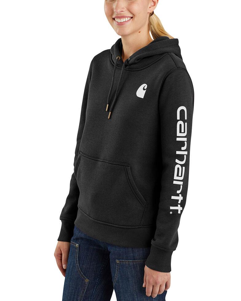 Carhartt Women's Clarksburg Graphic Sleeve Pullover Sweatshirt, Black, hi-res