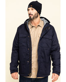 Hawx Men's Navy FR Duck Hooded Work Jacket , Navy, hi-res