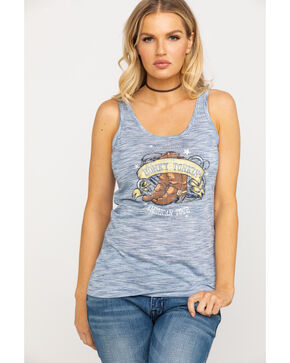 Ariat Women's Blue Honky Tonkin' Graphic Tank, Blue, hi-res