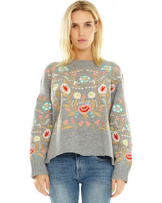 Aratta Women's Weekend Sweater, Heather Grey, hi-res