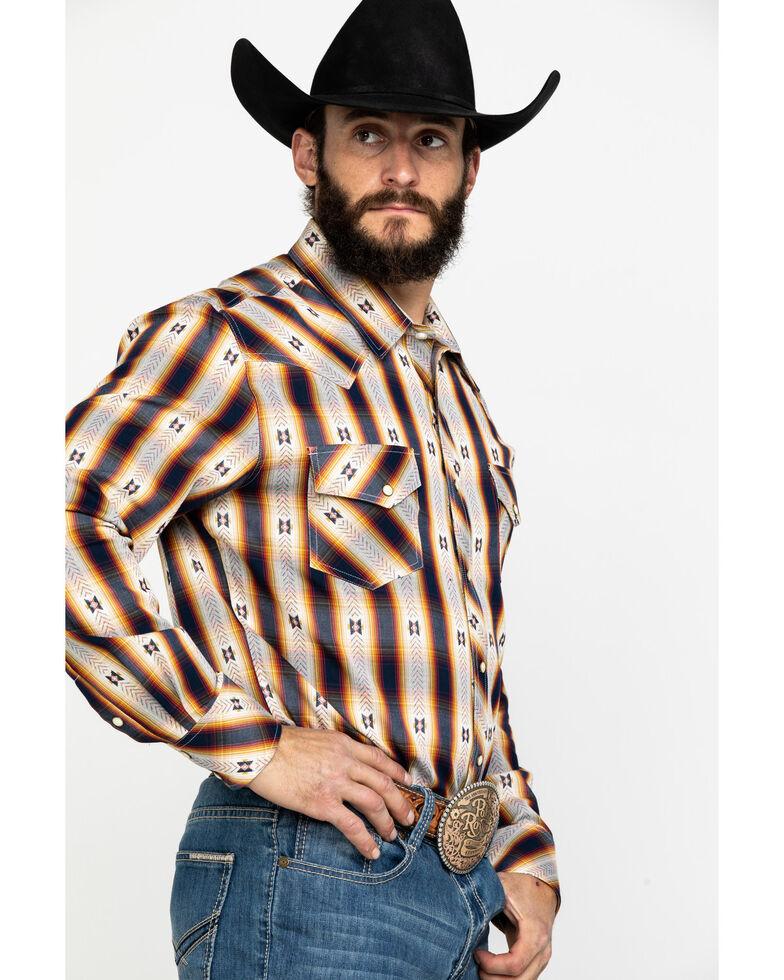 Rock & Roll Cowboy Men's Aztec Jacquard Plaid Long Sleeve Western Shirt , Red, hi-res