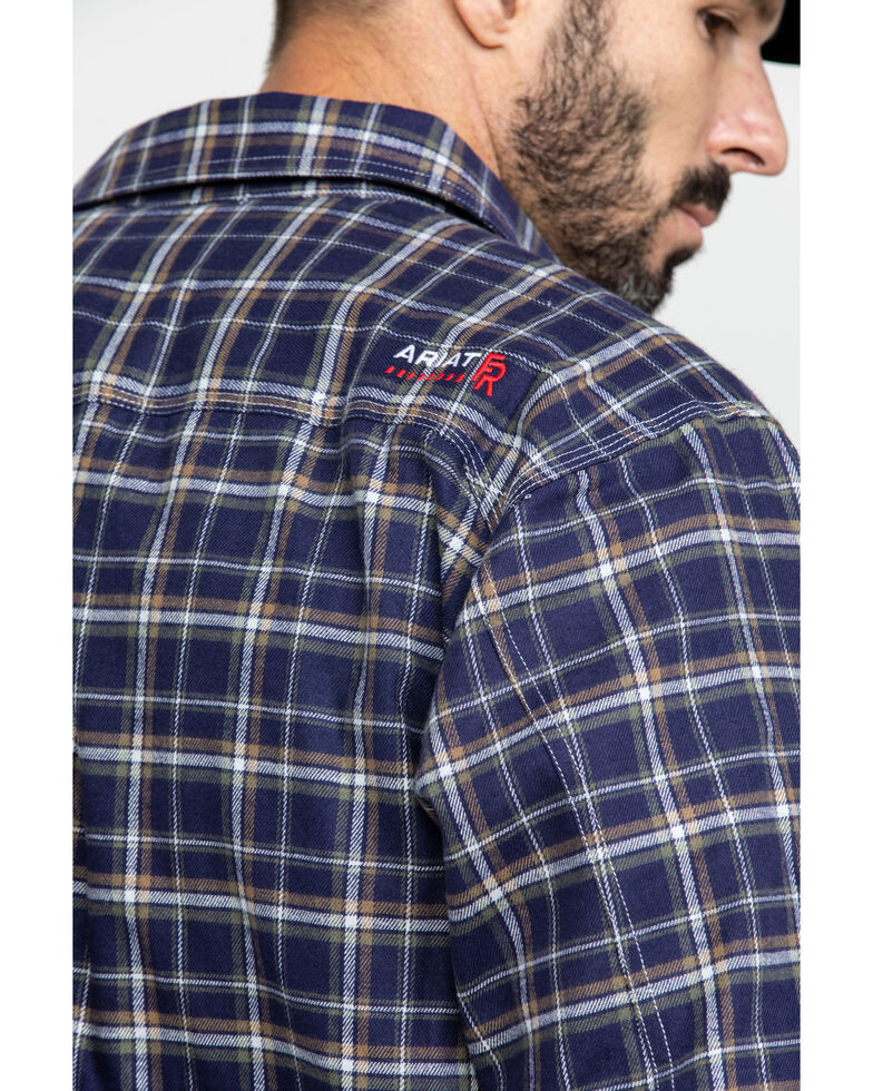 Ariat Men's FR Monument Plaid Work Shirt Jacket - Tall , Navy, hi-res