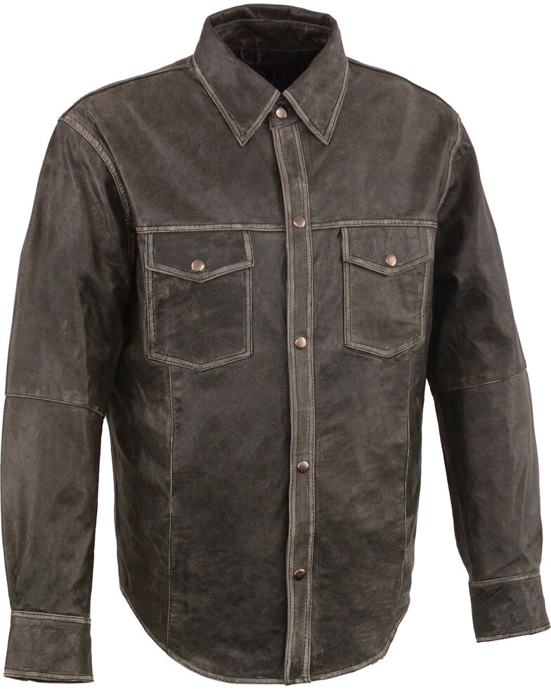 Milwaukee Leather Men's Grey Lightweight Leather Long Sleeve Western Shirt , Grey, hi-res