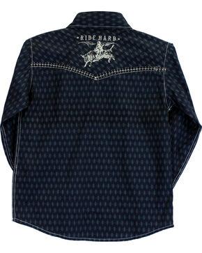 Cowboy Hardware Boys' Ride Hard Diamond Print Long Sleeve Shirt, Blue, hi-res