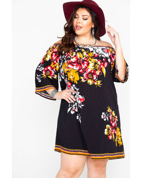 Flying Tomato Women's Floral Print Off Shoulder Dress - Plus , Black, hi-res