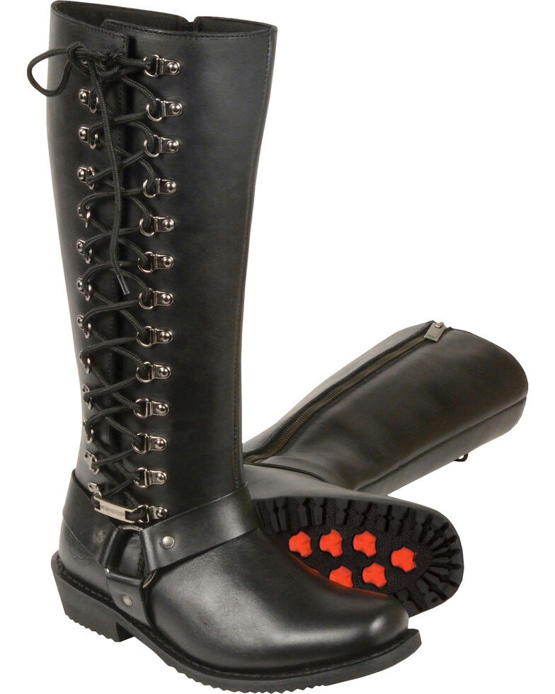 """Milwaukee Leather Women's 14"""" Full Lacing Classic Harness Boots - Square Toe - Wide, Black, hi-res"""