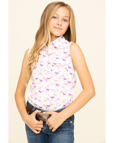 Shyanne Girls' Print Tie-Up Front Snap Shirt , White, hi-res