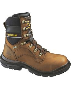 "Caterpillar 8"" Generator Waterproof & Insulated Lace-Up Work Boots - Steel Toe, Dark Brown, hi-res"