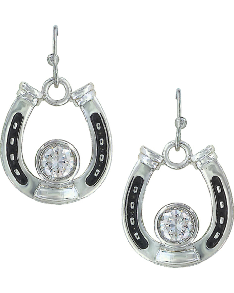 Montana Silversmiths Women's Horseshoe Treasure Earrings, Silver, hi-res