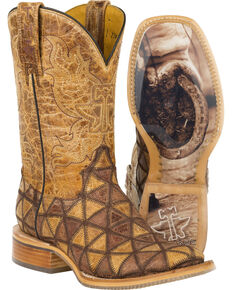 280166b0c6d4 Tin Haul Tan Conquer the World Cowgirl Boots - Square Toe