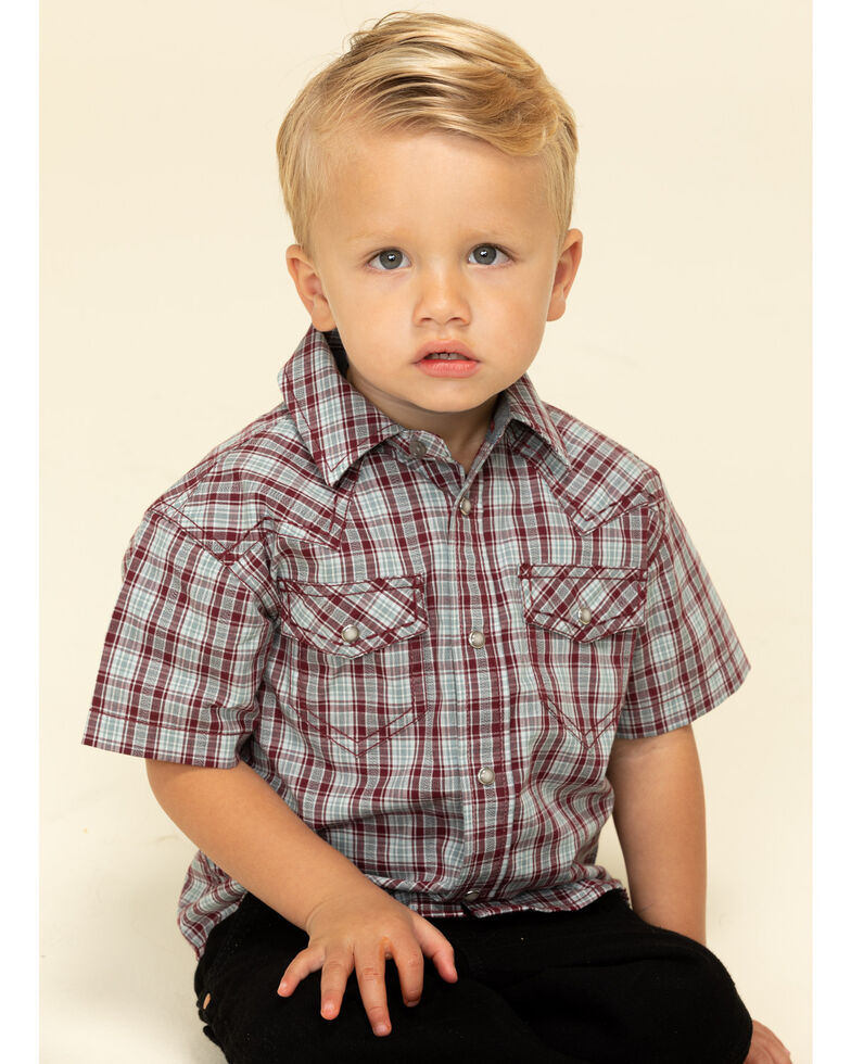 Cody James Toddler Boys' Static Small Plaid Short Sleeve Western Shirt , Olive, hi-res