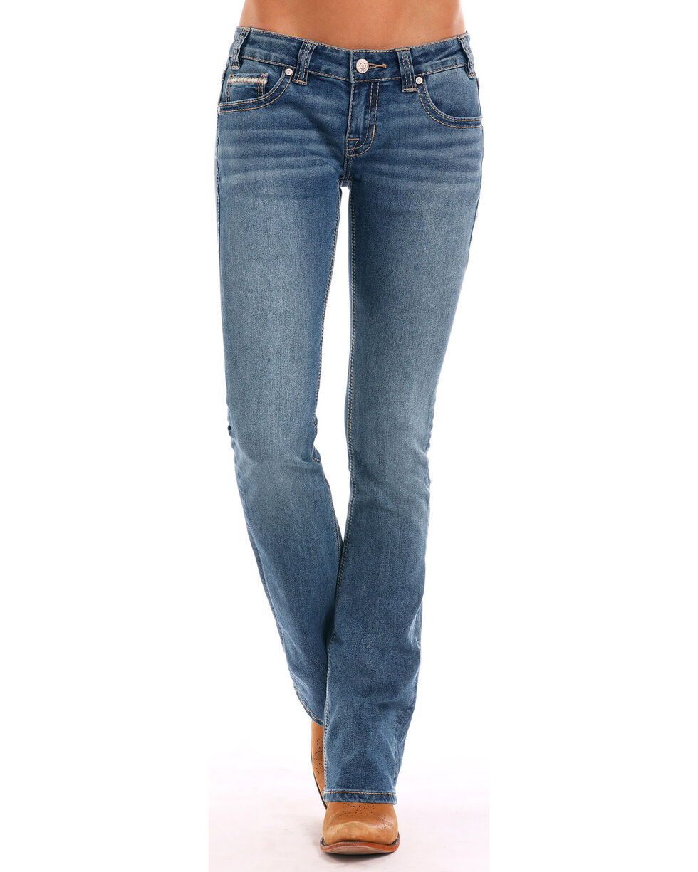 Rock & Roll Cowgirl Women's Embroidered Stretch Jeans, Blue, hi-res