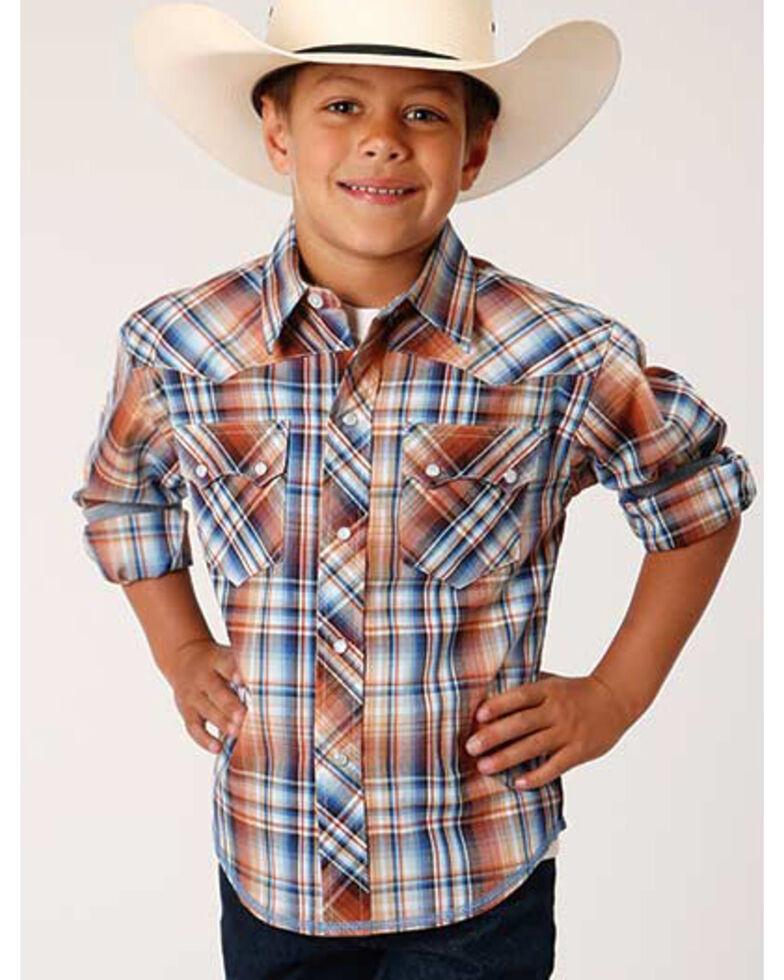 Roper Boys' Made West Meadow Plaid Long Sleeve Western Shirt , Brown, hi-res