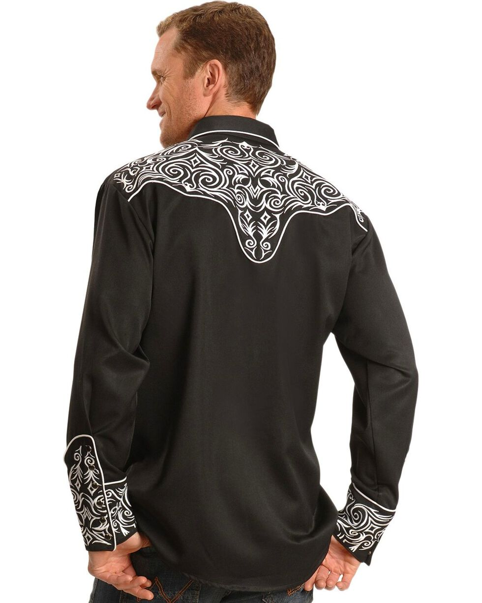 Scully Men's Embroidered Scroll Long Sleeve Western Shirt, Black, hi-res
