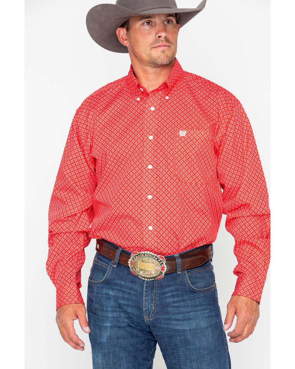 Cinch Men's Red Diamond Long Sleeve Button Down Shirt, Red, hi-res