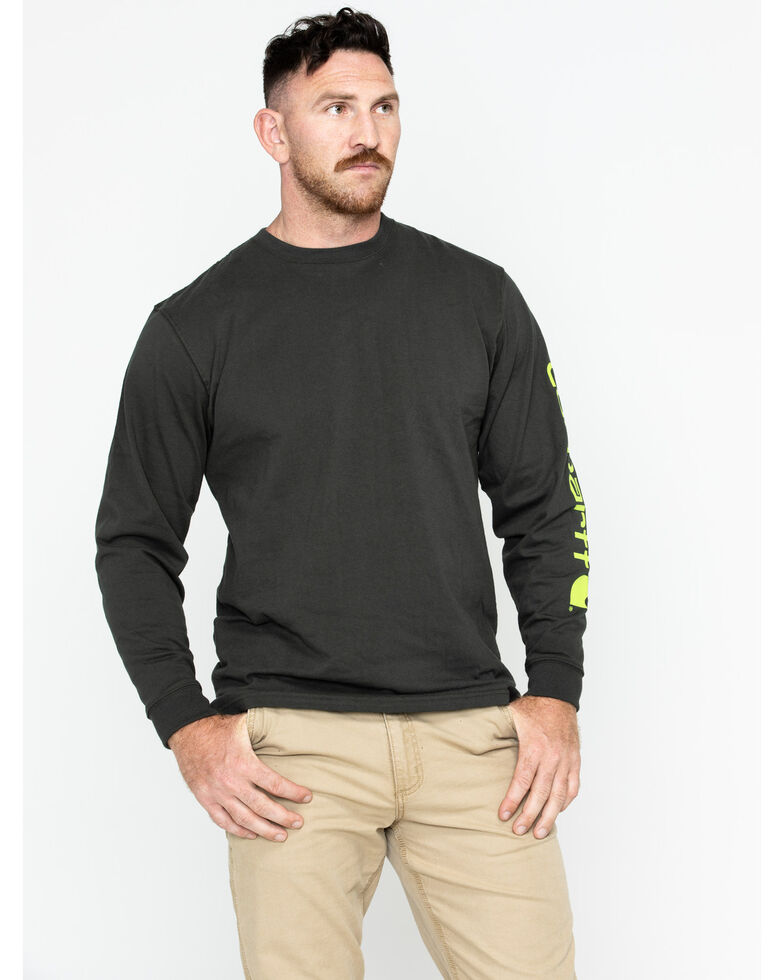Carhartt Signature Logo Sleeve Knit T-Shirt, Bark, hi-res