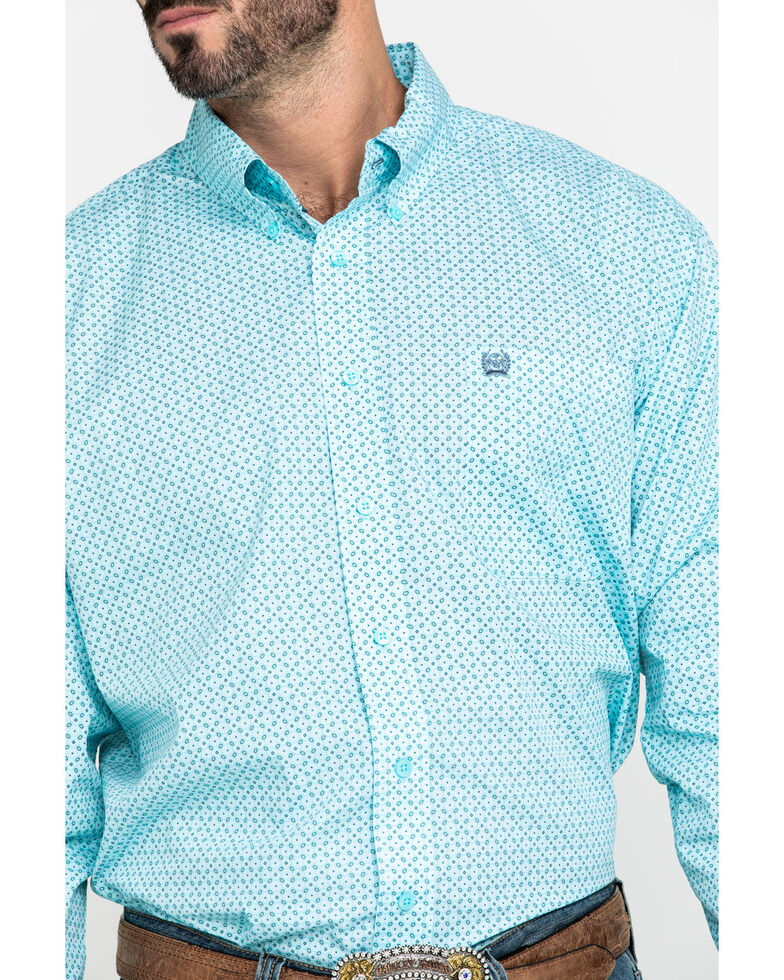 Cinch Men's Light Blue Small Geo Print Long Sleeve Western Shirt , Light Blue, hi-res