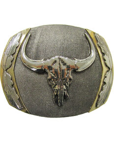 "AndWest Men's ""Big Horn"" Vintage Belt Buckle, Silver, hi-res"