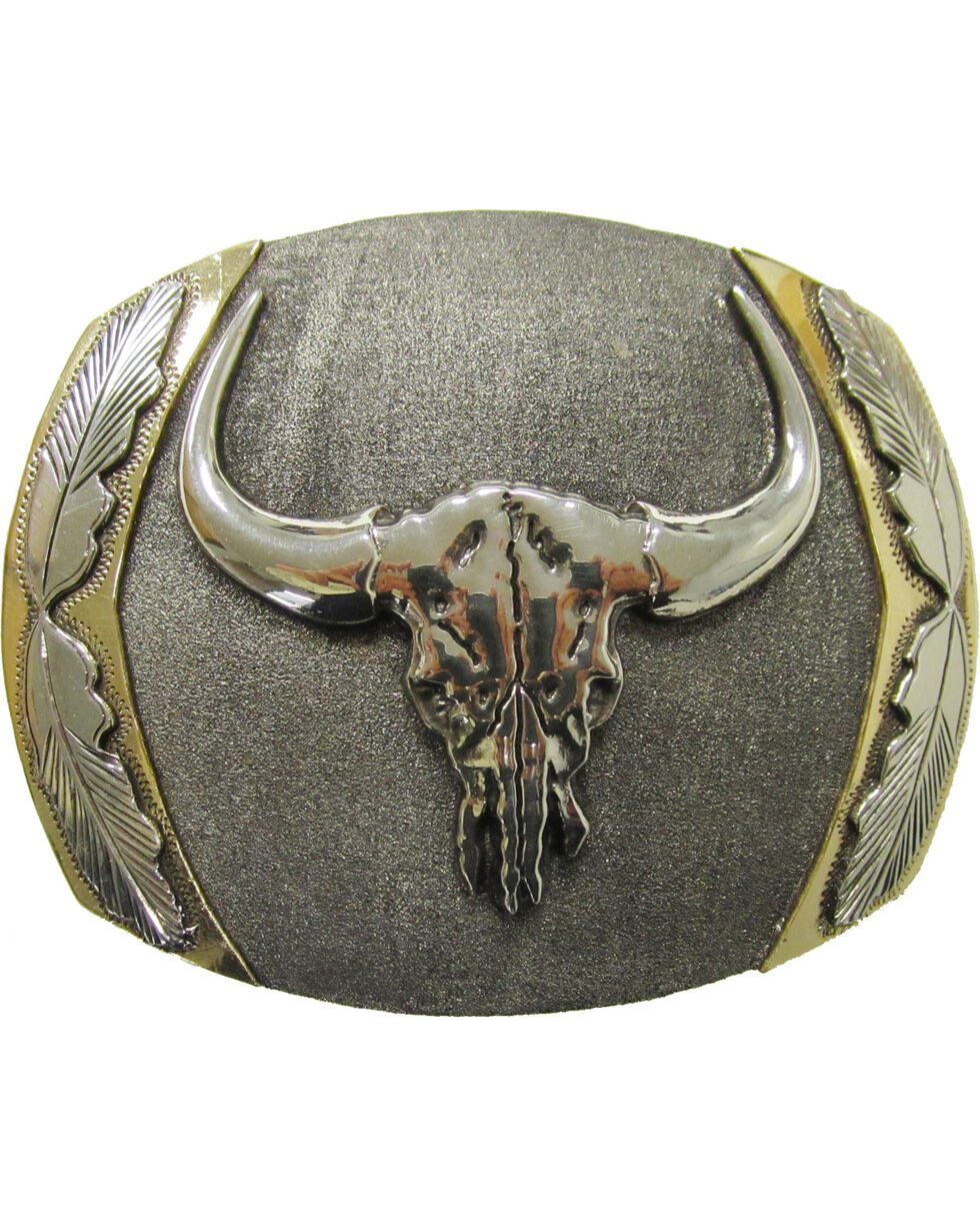 """AndWest Men's """"Big Horn"""" Vintage Belt Buckle, Silver, hi-res"""