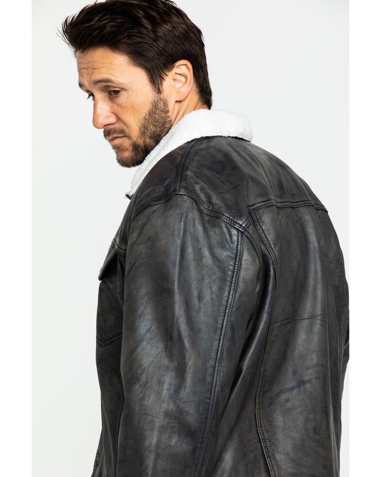 Cripple Creek Men's Black Conceal Carry Sherpa Lined Leather Jacket , Black, hi-res