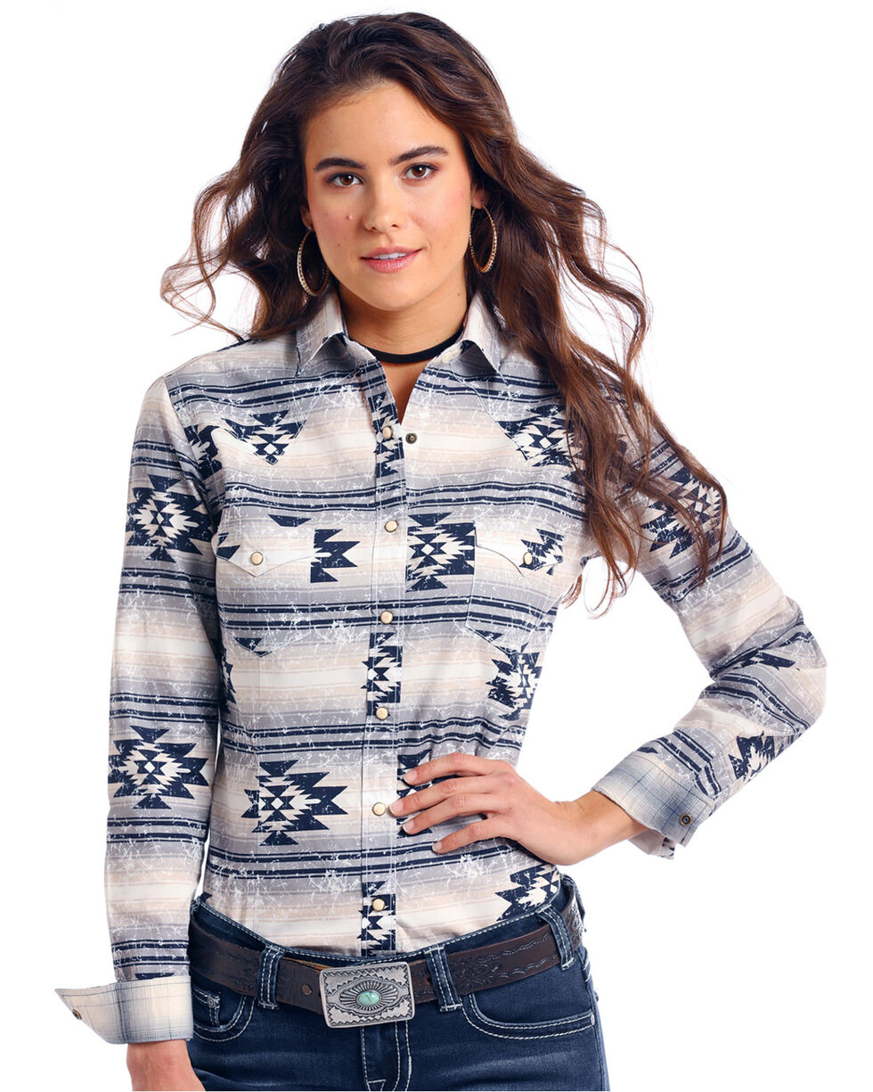 Rough Stock by Panhandle Women's Wasatch Aztec Print Long Sleeve Western Shirt, Ivory, hi-res