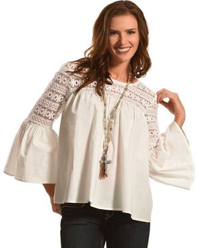 Young Essence Women's Lace Bell Sleeve Top, White, hi-res