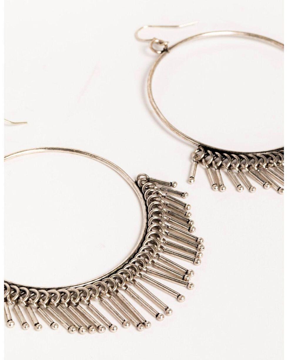 Idyllwind Women's Roundtop Fringe Hoop Earrings, Silver, hi-res