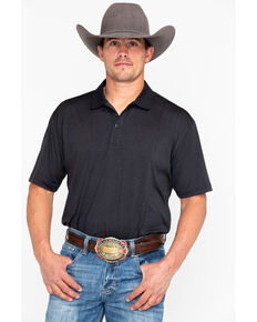 Cody James Black Short Sleeve Tech Polo Shirt , Black, hi-res