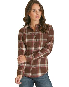 Wrangler Women's Brown Flannel Plaid Shirt , Brown, hi-res