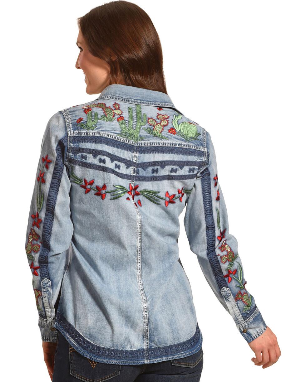 Tasha Polizzi Women's Cactus Embroidered Denim Shirt, Indigo, hi-res