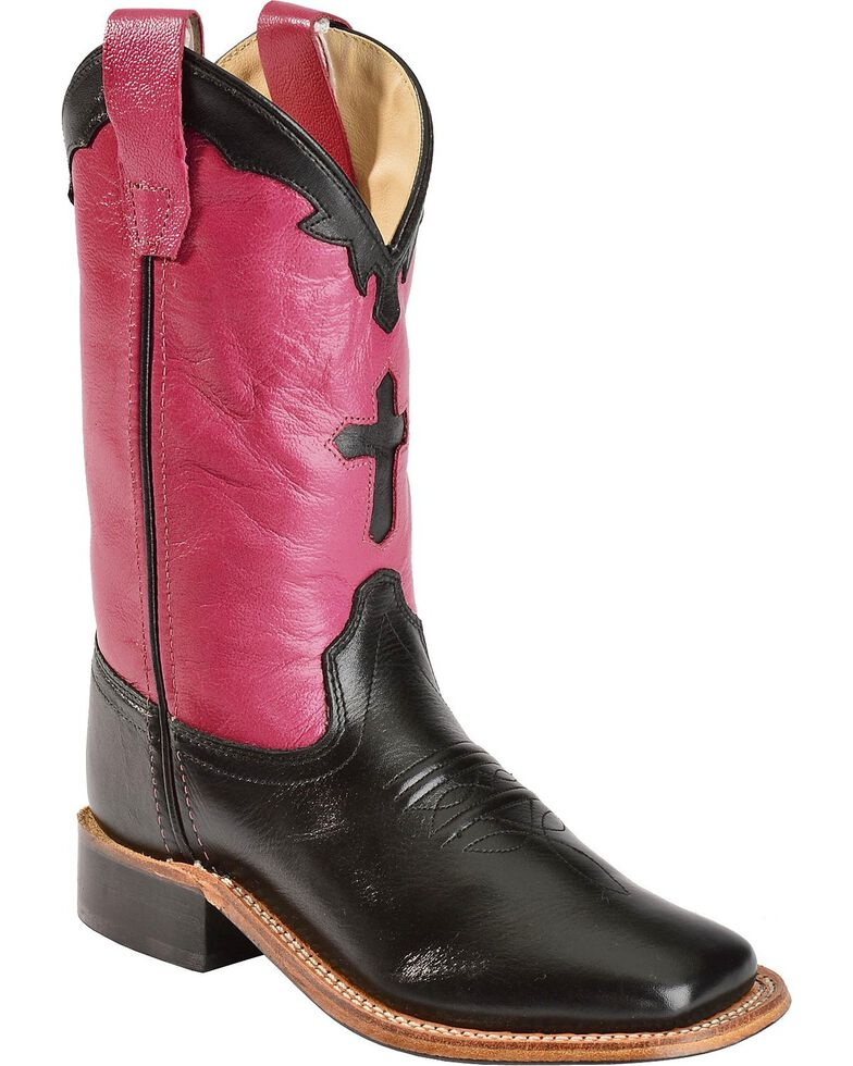 47450d11a23 Old West Girls' Hot Pink Cross Inlay Cowgirl Boots - Square Toe