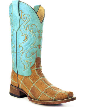 Circle G Women's Ostrich Patchwork Exotic Boots, Tan, hi-res