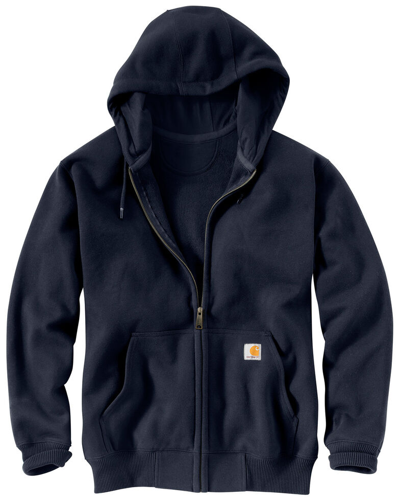 Carhartt Men's Rain Defender Paxton Heavyweight Zip Front Hooded Work Sweatshirt , Navy, hi-res