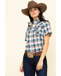 Wrangler Women's Navy Plaid Short Sleeve Western Shirt , Navy, hi-res