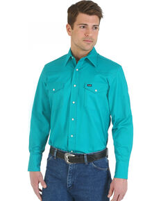Wrangler Men's Advanced Comfort Long Sleeve Western Shirt, Turquoise, hi-res