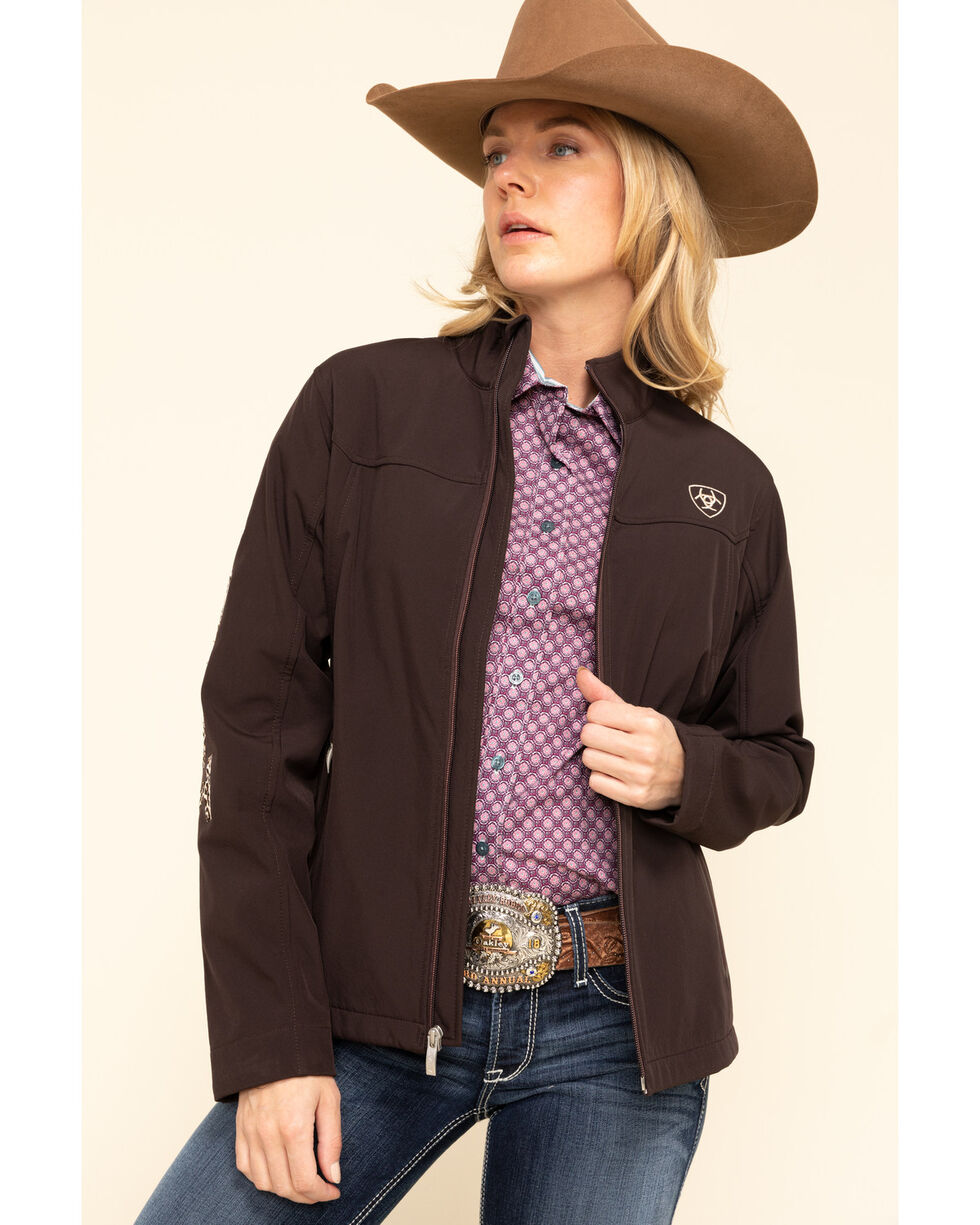 ARIAT Womens Coffee Bean and Leopard New Team Softshell Jacket