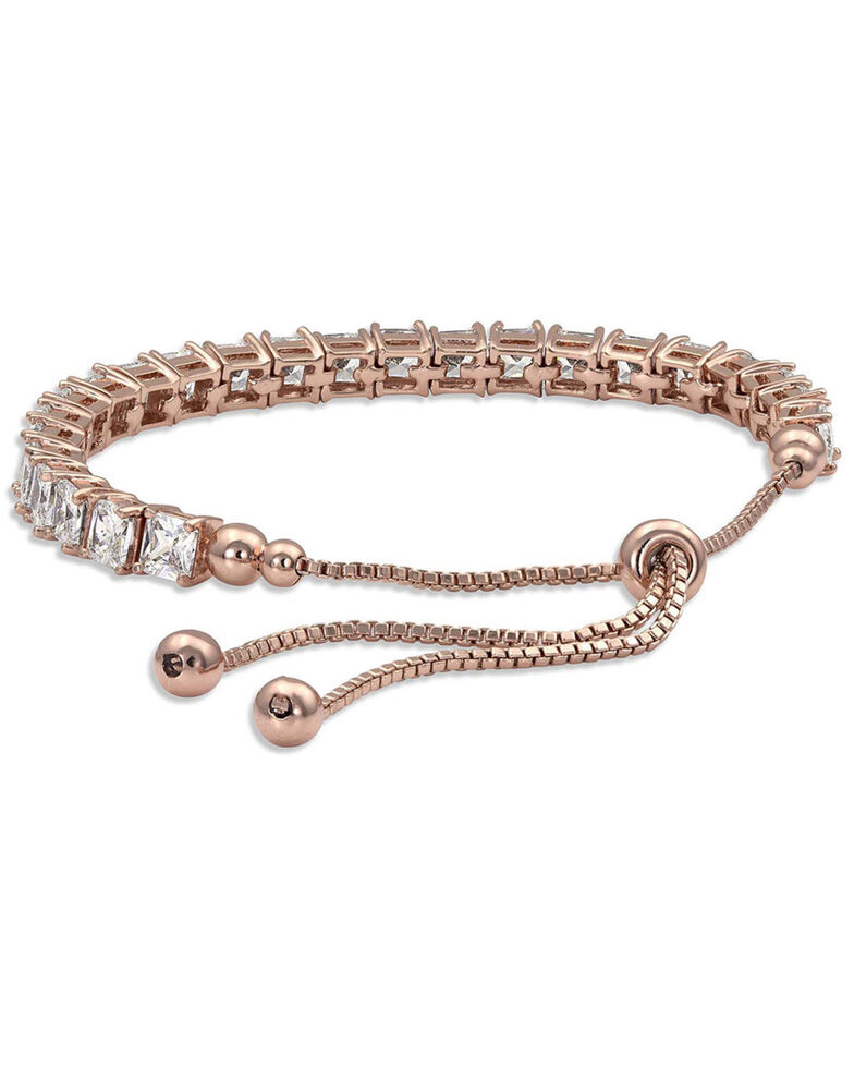 Montana Silversmiths Women's Squarely A Rose Gold Tennis Bolo Bracelet, Silver, hi-res