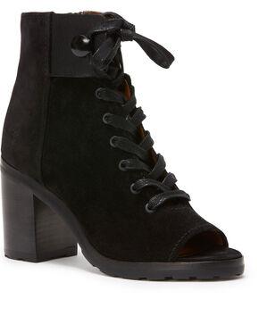 Frye Women's Black Danica Lug Combat Booties - Round Toe , Black, hi-res